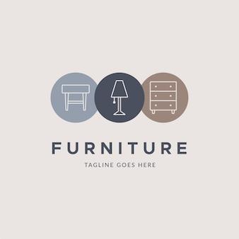 Modelo de logotipo de mobiliário minimalista com ilustração