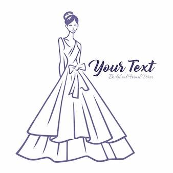 Modelo de logotipo de moda desgaste de noiva