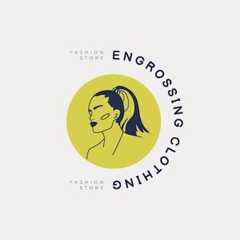 Modelo de logotipo de moda mulher desenhada à mão