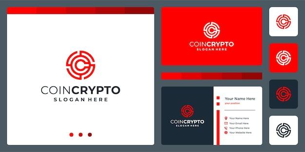 Modelo de logotipo de moeda criptográfica com a letra inicial c. ícone de dinheiro digital de vetor, cadeia de blocos, símbolo financeiro.
