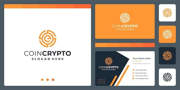 Modelo de logotipo de moeda criptográfica com a letra inicial e. ícone de dinheiro digital de vetor, cadeia de bloco, símbolo financeiro.