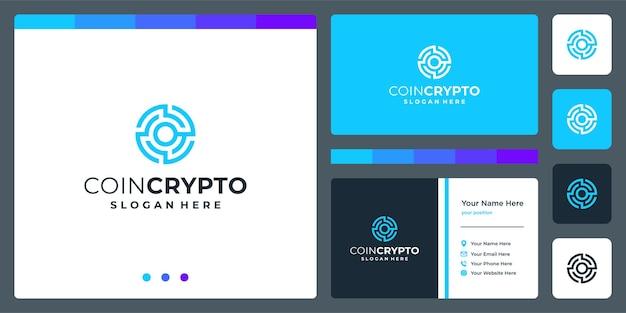 Modelo de logotipo de moeda criptográfica com a letra inicial o. ícone de dinheiro digital de vetor, cadeia de bloco, símbolo financeiro.