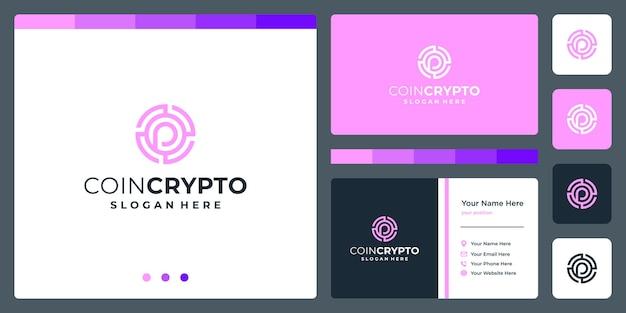 Modelo de logotipo de moeda criptográfica com a letra inicial p. ícone de dinheiro digital de vetor, cadeia de bloco, símbolo financeiro.