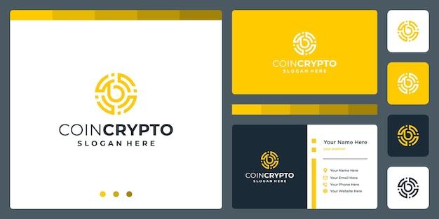 Modelo de logotipo de moeda criptográfica com letra inicial b. ícone de dinheiro digital de vetor, cadeia de bloco, símbolo financeiro.