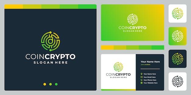 Modelo de logotipo de moeda criptográfica com letra inicial d. ícone de dinheiro digital de vetor, cadeia de bloco, símbolo financeiro.