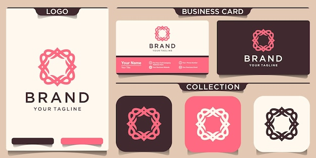 Modelo de logotipo de moldura de ornamento e design de cartão de visita