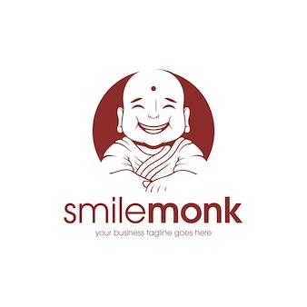 Modelo de logotipo de monge feliz