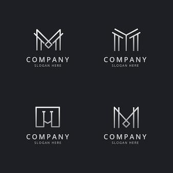 Modelo de logotipo de monograma de linha m iniciais com cor prata estilo para a empresa