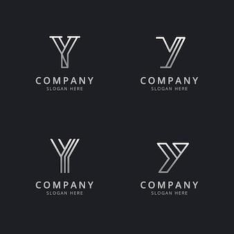 Modelo de logotipo de monograma de linha y iniciais com cor prata estilo para a empresa