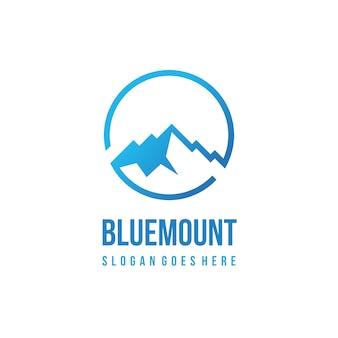 Modelo de logotipo de montanha azul
