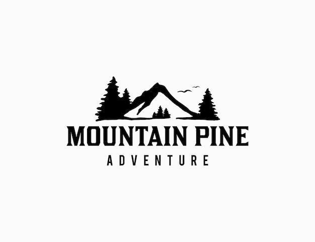 Modelo de logotipo de montanha com pinheiro