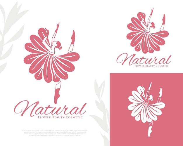 Modelo de logotipo de mulher dançando flor