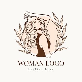 Modelo de logotipo de mulher desenhada à mão