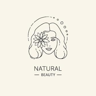 Modelo de logotipo de mulher desenhado à mão