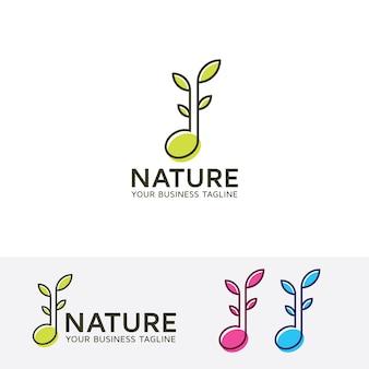 Modelo de logotipo de música natural e folha