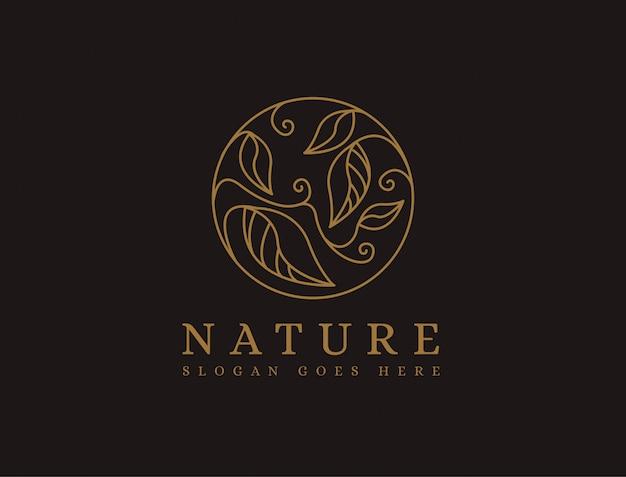 Modelo de logotipo de natureza abstrata folha lineart