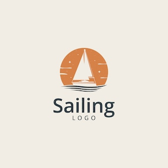 Modelo de logotipo de navio de barco iate à vela