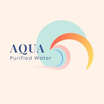 Modelo de logotipo de negócios aqua, empresa de água, vetor de design plano pastel criativo
