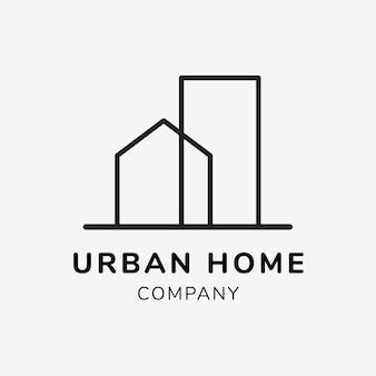 Modelo de logotipo de negócios imobiliários para vetor de design de marca, texto de empresa em casa urbana