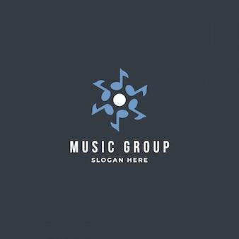 Modelo de logotipo de nota de grupo musical.