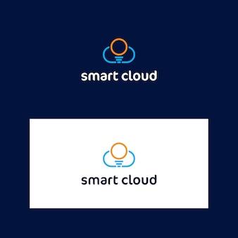 Modelo de logotipo de nuvem e lâmpada