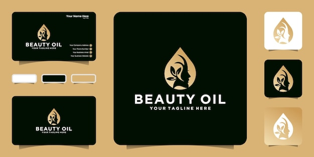 Modelo de logotipo de óleo de beleza feminina criativa e design de cartão de visita