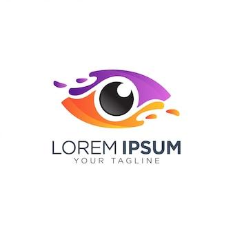 Modelo de logotipo de olho colorido