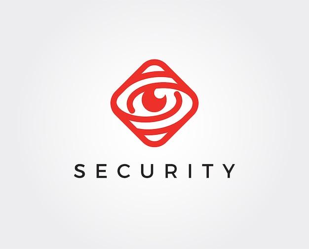 Modelo de logotipo de olho de segurança mínima
