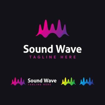 Modelo de logotipo de onda sonora