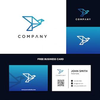Modelo de logotipo de origami de pássaro