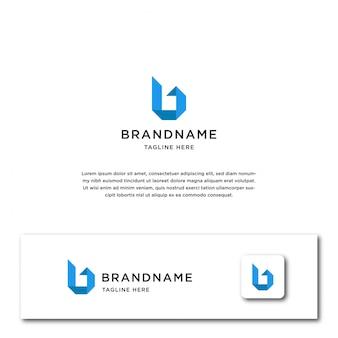 Modelo de logotipo de origami letra b