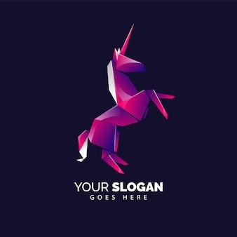 Modelo de logotipo de origami pegasus