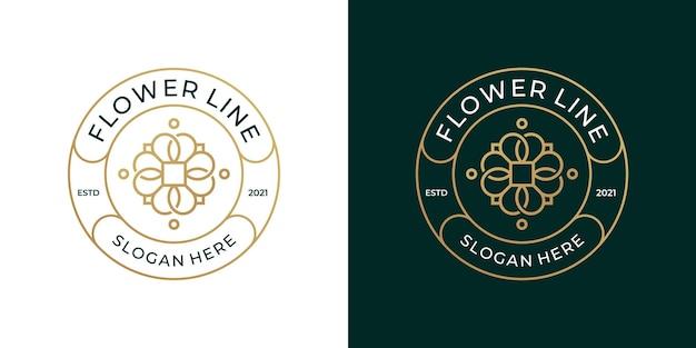 Modelo de logotipo de ornamento floral.
