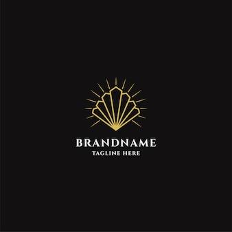 Modelo de logotipo de ostra dourada