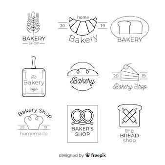 Modelo de logotipo de padaria de arte de linha