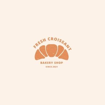 Modelo de logotipo de padaria de croissant logotipo vintage