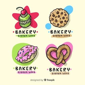 Modelo de logotipo de padaria desenhada de mão