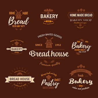 Modelo de logotipo de padaria e emblemas para produtos assados na hora