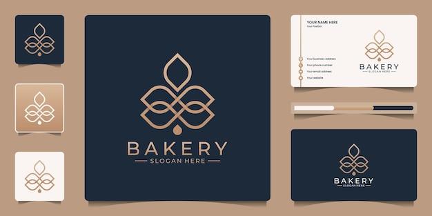 Modelo de logotipo de padaria elegante minimalista.