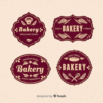 Modelo de logotipo de padaria vintage