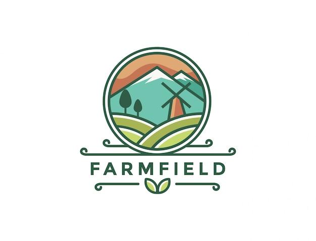 Modelo de logotipo de paisagem de fazenda
