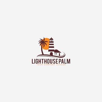 Modelo de logotipo de palmeiras de farol