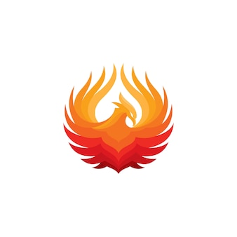 Modelo de logotipo de pássaro de fogo phoenix