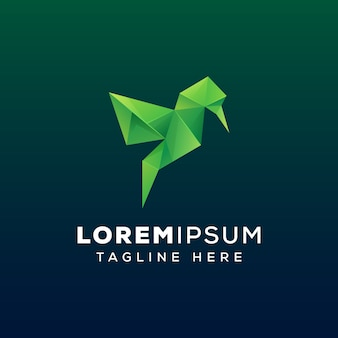 Modelo de logotipo de pássaro de gemas