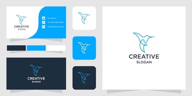 Modelo de logotipo de pássaro de linha e cartão de visita