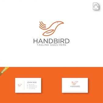 Modelo de logotipo de pássaro de mão