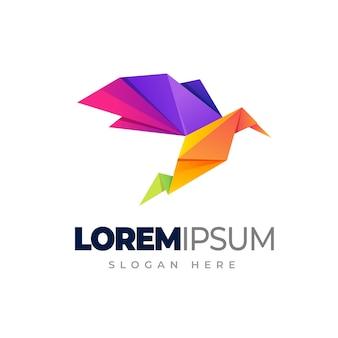 Modelo de logotipo de pássaro de origami logotipo gradiente de cor de pássaro