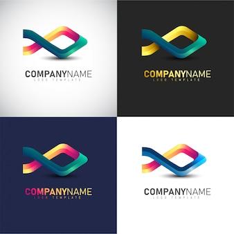 Modelo de logotipo de peixe 3d abstrata para sua marca de empresa