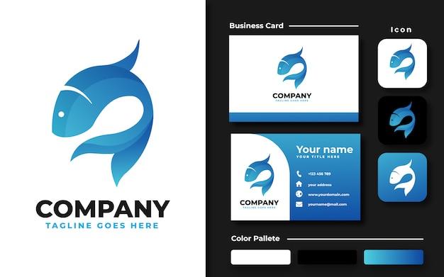 Modelo de logotipo de peixe azul e cartão de visita