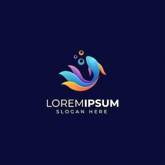Modelo de logotipo de peixe colorido e fofo